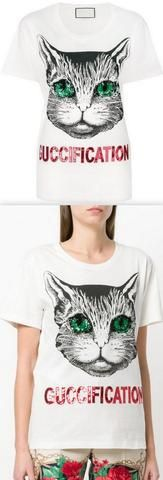 'Mystic Cat' Fication Printed Embellished Cotton T-Shirt