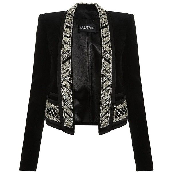 Balmain Exclusive Pearl-Trimmed Velvet Jacket ($5,690) ❤ liked on Polyvore featuring outerwear, jackets, blazers, balmain, coats, cropped blazer, cropped jacket, velvet jacket, shawl collar jacket and cropped blazer jacket