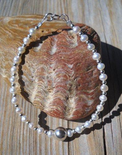 925 Sterling Silver Fresh Water Pearl Bracelet  925 Sterling Silver Bead 8mm,Split,Spring Rings,Seed Beads Fresh Water Pearls 4mm Steel Cord 17cm long   Handmade,brand new
