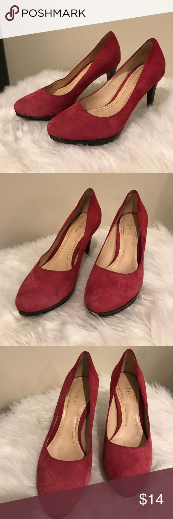 Red Suede Cole Haan Pumps Red Suede Cole Haan Pumps have some guns of wear mainly on bottom of shoe. No stains or marks on leather. Cole Haan Shoes Heels