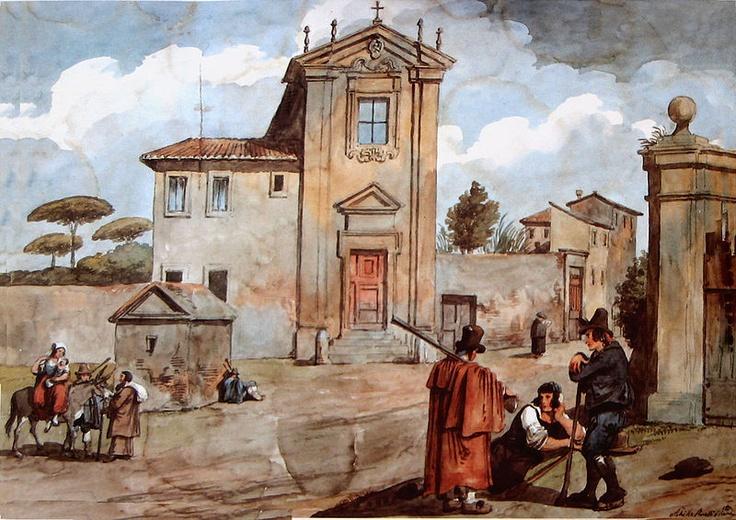 Chiesa del Domine Quo Vadis, a Roma. Acquarello di Achille Pinelli (1809-1841) Autore deceduto da più di 70 anni.