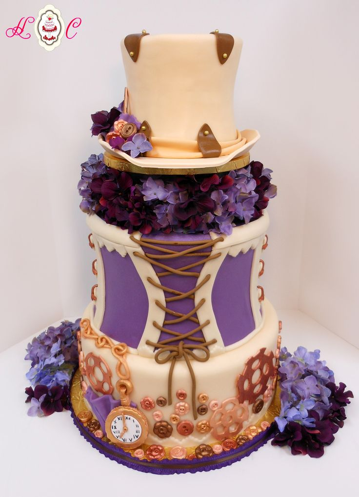 LATEST STEAMPUNK WEDDING CAKES | Steampunk Wedding Cake in Ivory, Copper and Purple by Heavenly ...