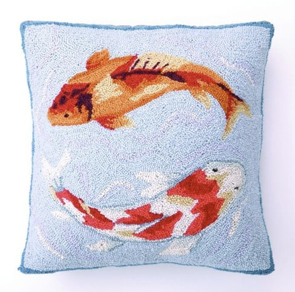 Blue koi pillow koi pinterest cushions pillows and blue for Koi fish pillow