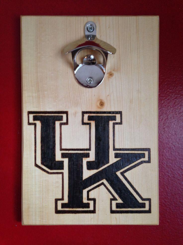 Kentucky Wildcats Wood Burned Bottle Opener Custom Wall