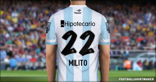 La camiseta local de Racing de Milito