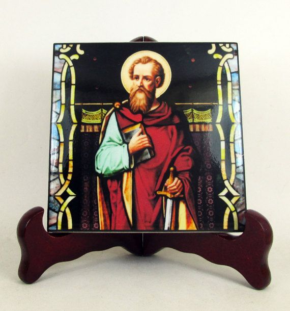 #StPaul the Apostle collectible #christian icon on ceramic tile #handmade in Italy #saints #saint #paul 👉👉 https://www.etsy.com/listing/500643654 👈👈