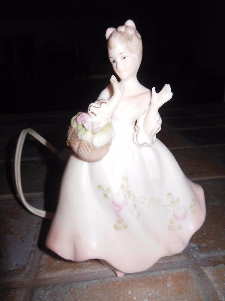 A pink twin to my lavender princess lamp! Mid-Century VTG. Ardalt Bisque Porcelain Lady Perfume Lamp Night Light Figurine  | eBay