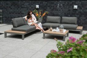 Fidji Loungeset Hoekbank Aluminium Teakhout 4 Seasons Outdoor