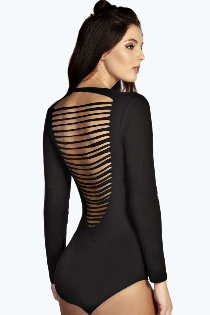 Kitty Long Sleeved Slash Back Bodysuit alternative image