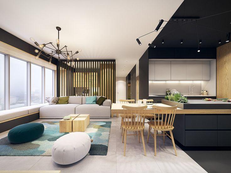 Casinha colorida: Integração de cozinhas às salas de estar: escolhendo as cores