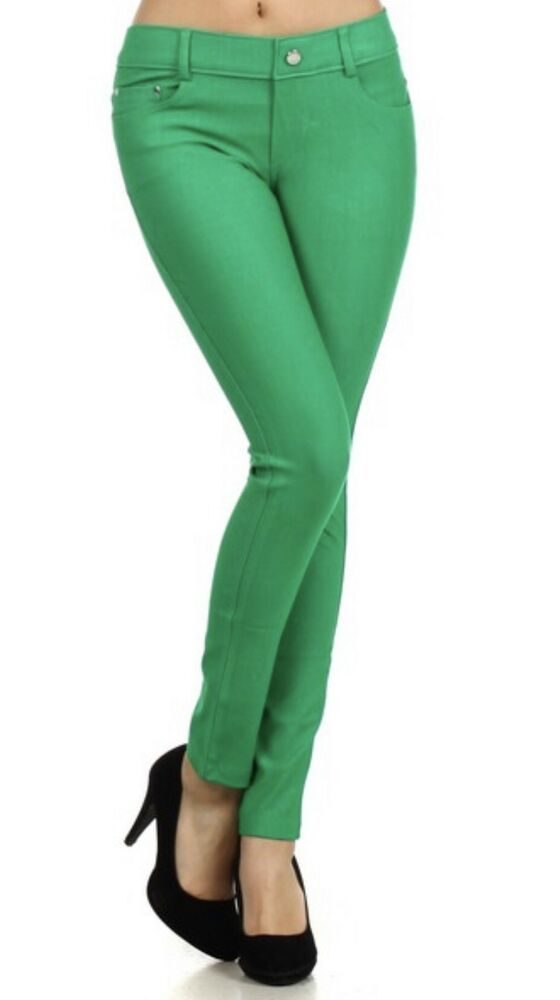 6b428b6440bf3 Yelete Women Jegging Skinny 5 pocket Green regular Fit Size Large #fashion # clothing #shoes #accessories #womensclothing #leggings (ebay link)