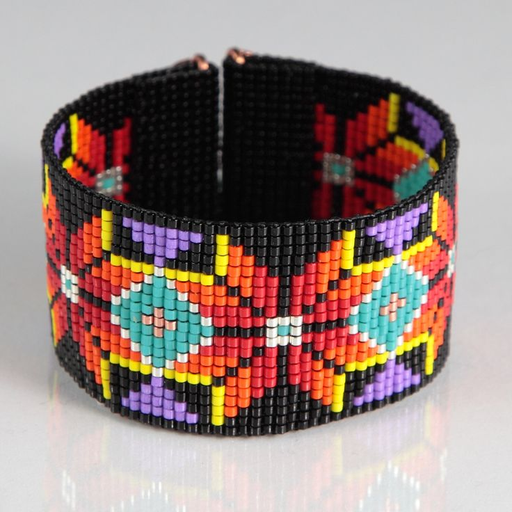 Native American Style Boho Bead Loom Bracelet, Artisanal Jewelry, Southwestern, American Indian Motif Jewelry, Western, Beaded Bright by PuebloAndCo on Etsy https://www.etsy.com/listing/215311740/native-american-style-boho-bead-loom