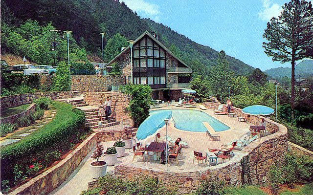 Vintage postcard of the Chalet Motel in Gatlinburg, TN