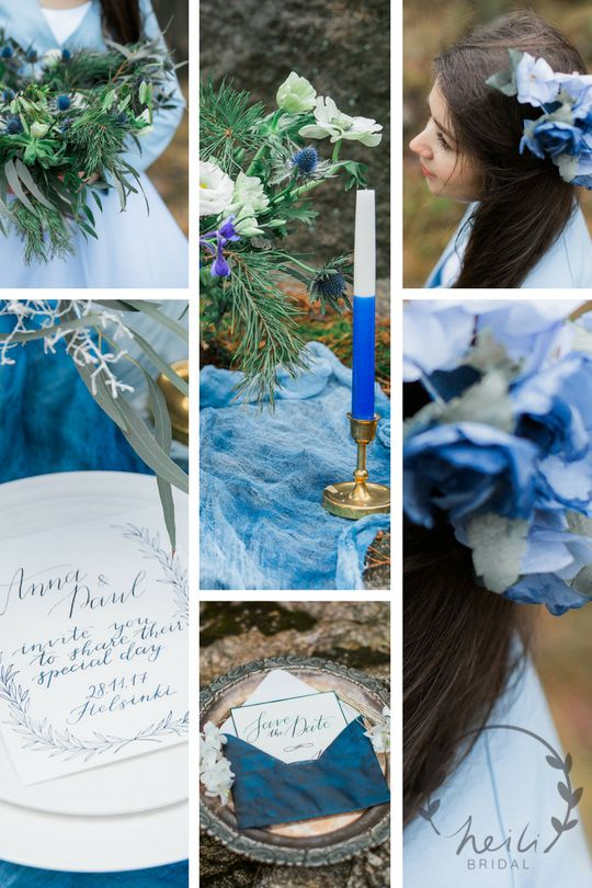 Winter blue wedding inspiration for something blue weddings. Flower comb from Heili Bridal's Etsy shop. More pics in blog.