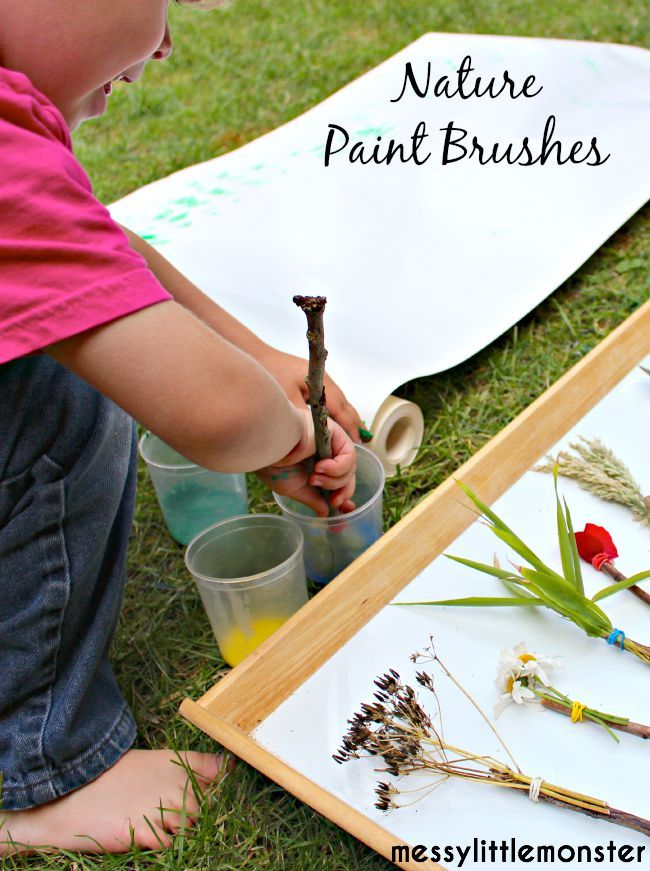 Messy Little Monster: Painting Techniques: Use nature paint brushes