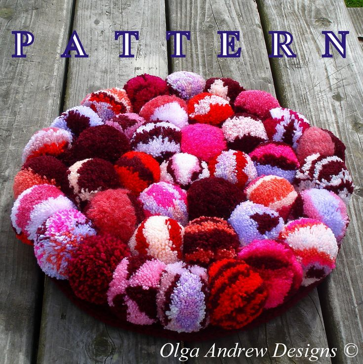 Pompom fluffy rug or chair seat cushion. Easy crochet tutorial pattern instant download (PDF) -- Olga Andrew Designs © Pattern 064