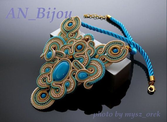 Turquoise gold ecru Soutache Necklace by ANBijou on Etsy, $135.00