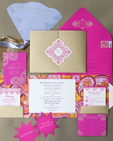 Morocco meets Mexico in this bright and bold suite set inside a gold folder with a watercolored paisley pattern inside