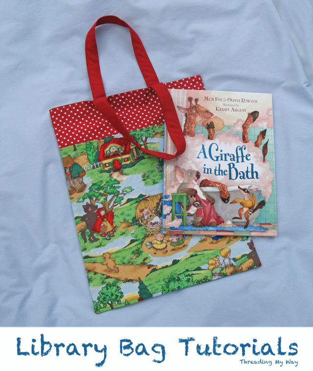 Make a library bag for your child to take to school. This is an easy first sewing project. DIY - Tutorial ~ Threading My Way