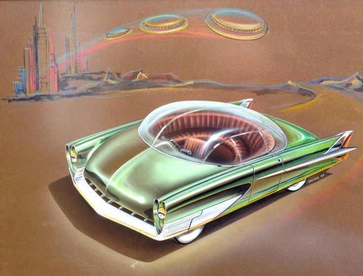 Charles Balogh imagined a car with semi-circular seating to stimulate conversation among passengers. See other auto sketches from Detroit's golden era you were never meant to see w/ PBS NEWSHOUR.