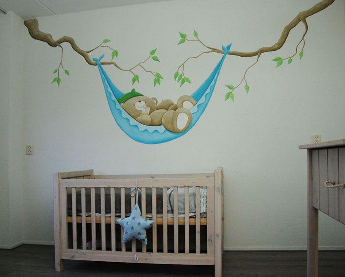 Forever friends babykamer muurschildering op spachtelputz for Muurdecoratie babykamer