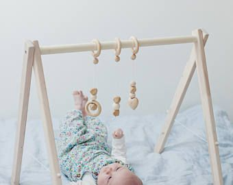 Disassembled wooden baby gym, activity center, baby activity gym,no hangers, only frame + three wooden rings