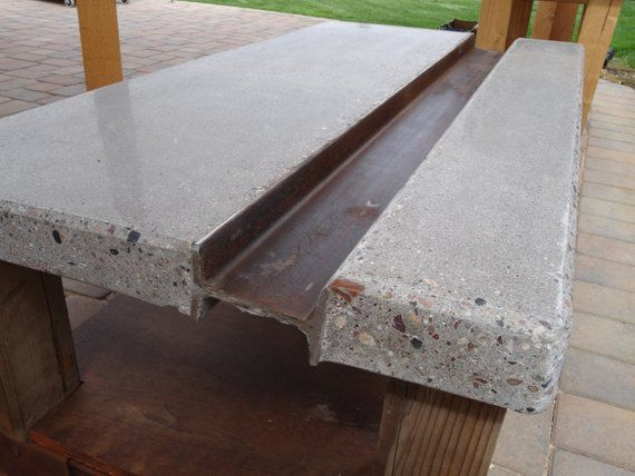 """Polished concrete coffee table with steel """"I-beam"""" and reclaimed wood base"""