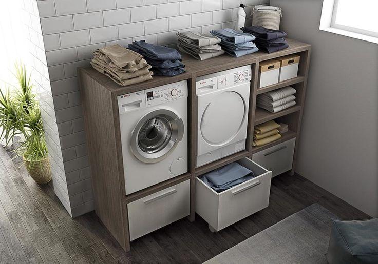 Mobile lavanderia componibile con lavatoio LAVANDERIA 10 ... - Buanderie Moderne