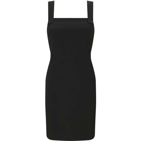 Miss Selfridge Black Pinafore Dress ($55) ❤ liked on Polyvore featuring dresses, black, pinafore dress, miss selfridge and miss selfridge dresses