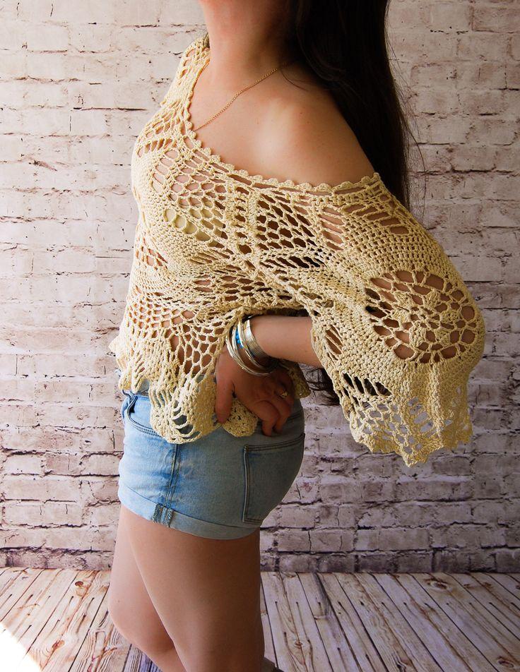 CROCHET Top.Crochet lace top.Openwork.Crochet bohemian top.Boho crochet top.Tunic.Crochet tunic.Bikini crochet.Beach cover. Beachwear by NinElDesign on Etsy