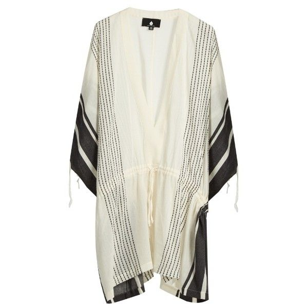Su Dita V-neck striped kaftan (€340) ❤ liked on Polyvore featuring tops, tunics, black stripe, striped tunic, kaftan tunic, beach caftan, beach tunic and cotton caftan