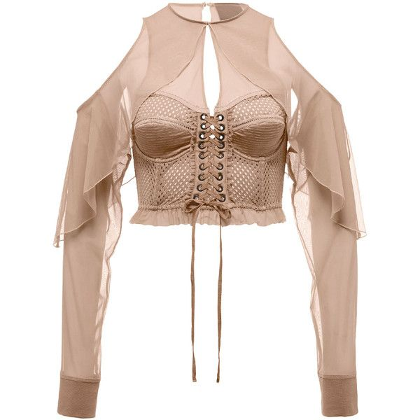 Fenty Puma By Rihanna Mesh Bustier Top w/Chiffon Sleeves (€220) ❤ liked on Polyvore featuring tops, beige, lace up crop top, ruffle crop top, cropped tops, long sleeve crop top and long-sleeve crop tops