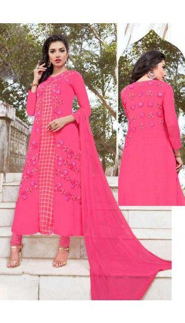 Stylish Pink Georgette Churidar Suit With Dupatta - DMV14819