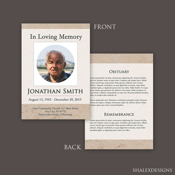 In Loving Memory Funeral Template - Photoshop PSD *INSTANT - funeral announcement template free