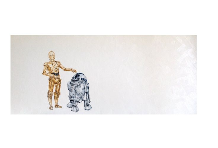 """23.6x39.4"""" Original oil painting C3PO and R2D2 Star Wars fine art paper and canvas prints by OldiArt on Etsy https://www.etsy.com/listing/227676060/236x394-original-oil-painting-c3po-and"""
