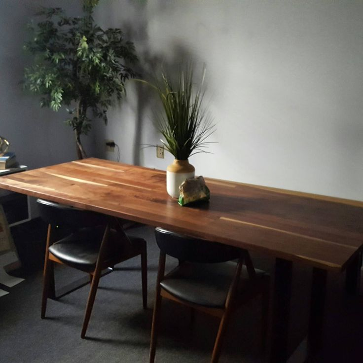 Modern Walnut Dining Table. Solid Welded Steel Base. Handcrafted Kitchen Table. Rustic Modern.