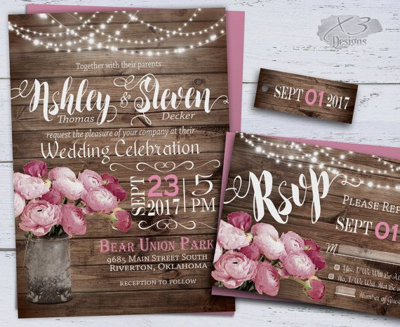 DIY Rustic Wedding Invitation Printable, Spring Wedding Invitations, Country Wedding, Floral Summer Wedding Invites, Pink w/ String Lights by X3designs