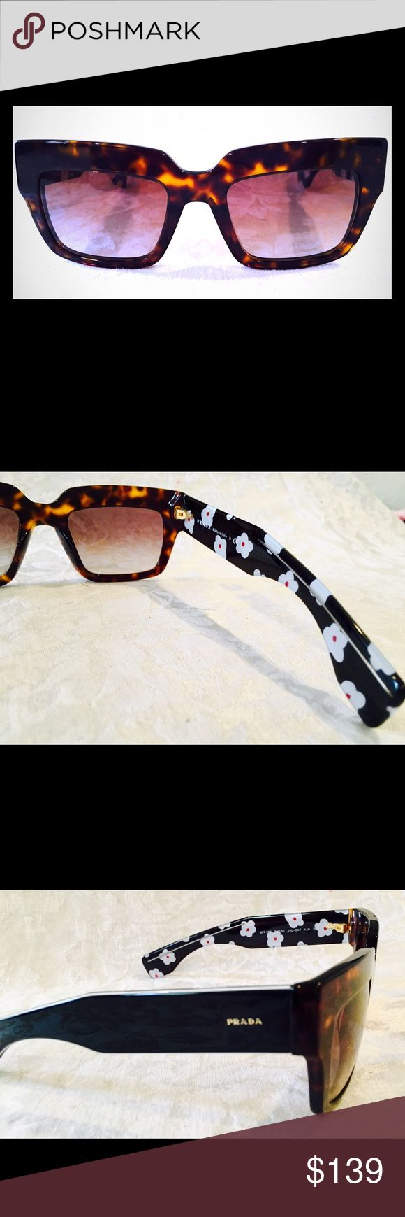 Prada women's sunglasses...NEW!! Tortoiseshell frames on the outside, white daisies on the inside of the arms. Great frame shape, sits comfortably on the face. Looks and feels like a pair of sunglasses that Audrey Hepburn would have worn while out and about. NEW!! Prada Accessories Sunglasses