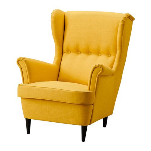 IKEA STRANDMON Wing chair Skiftebo yellow You can really loosen up and relax in comfort because the high back on this chair provides extra support for...
