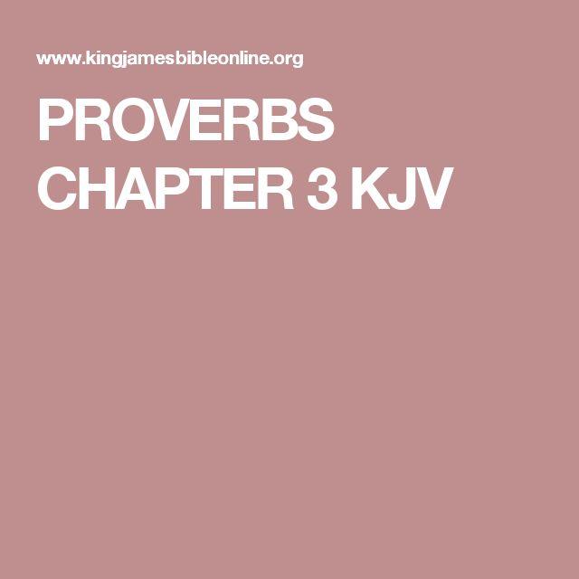 PROVERBS CHAPTER 3 KJV