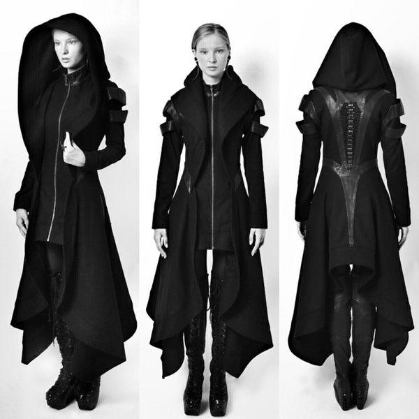Cool Women Cosplay Coat Irregular Hooded Leather Patchwork Tops Cosplay Avant Long Coat Gothic Ninja Hero Clothing Warm Sexy Black Cape Coat Sweater Plus Size S M L XL XXL XXXL XXXXL 5