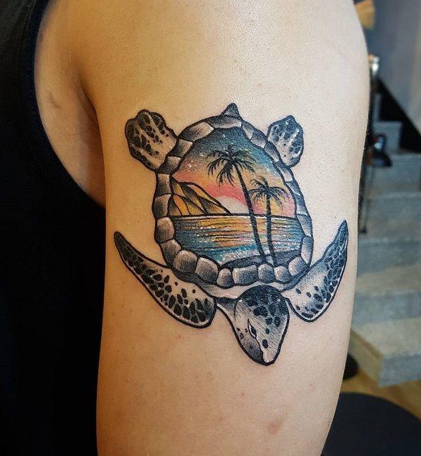 45 Turtle Tattoo Design Ideas Cuded Turtle Tattoo Designs Turtle Tattoo Sunset Tattoos