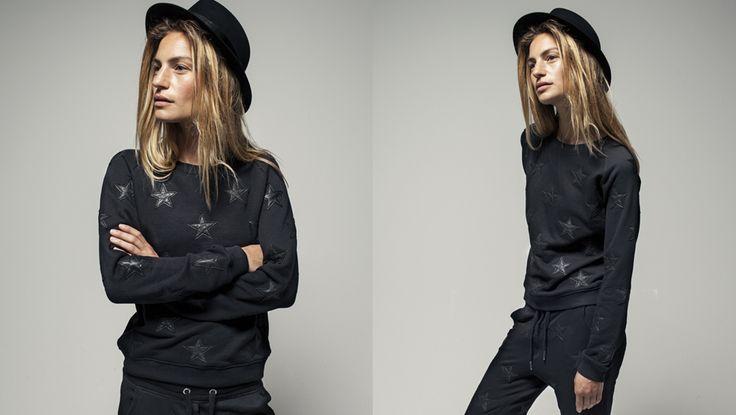 Zoe Karssen Leather Star Sweatshirt in Black