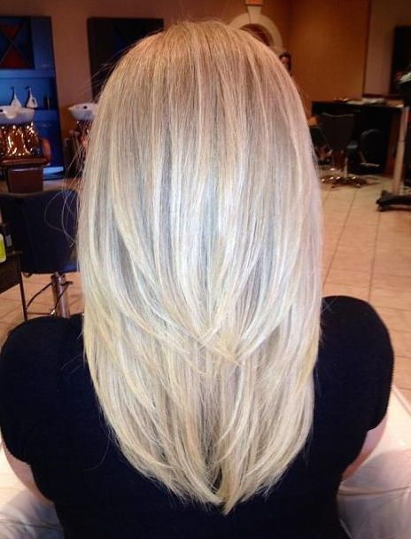 Straight Medium-Length Layered Platinum-Blonde Hair