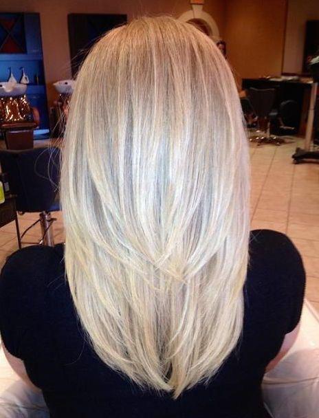Straight Medium-Length Layered Platinum-Blonde Hair