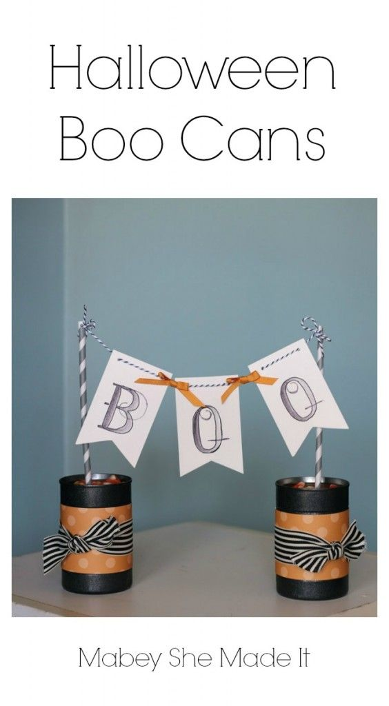 Halloween Boo Cans from old upcycled soup cans | Mabey She Made It |