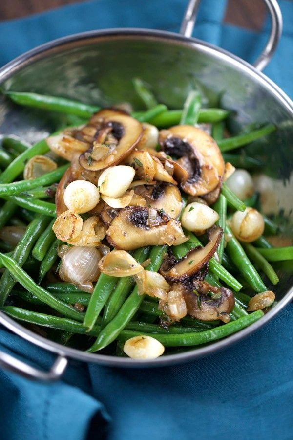 haricot verts with mushrooms and caramelized onions | jessicagavin.com