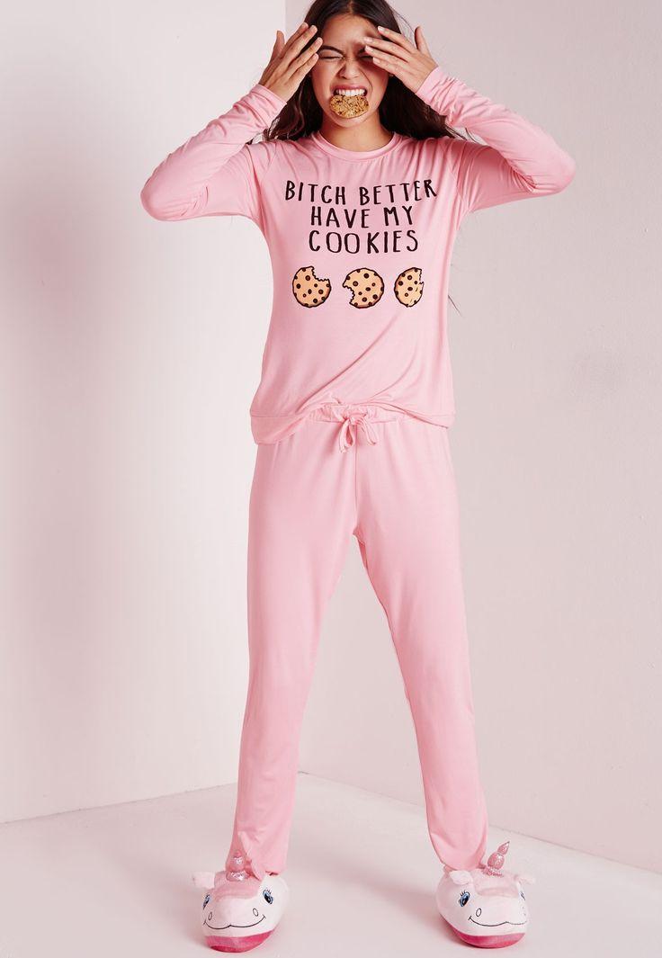Slogan Cookies Pyjama Set Pink - Nightwear - Pyjamas - Missguided