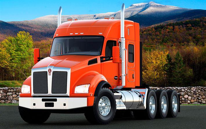 Descargar fondos de pantalla Kenworth T880, 2017, naranja T880, camiones nuevos, entrega, American camión Kenworth