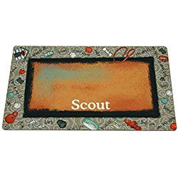 Drymate Bow Wow Beige Personalized Dog Placemat, Medium, Multi-Color